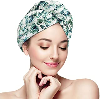 Hair Towel Wrap Turban Microfiber Quick Dry Hair Hat For Women, Long Hair Shower Cap Absorbent Twist Head Towels With Button Watercolor Green Snake Animal Skin Print