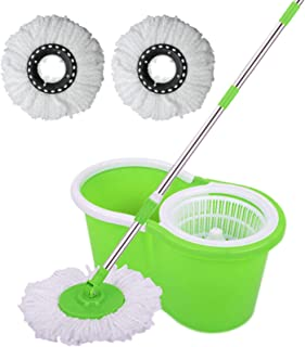 SPIN MOPS 360 Degree SPINNING MOP BUCKET HOME CLEANING WITH 2 MOP HEADS