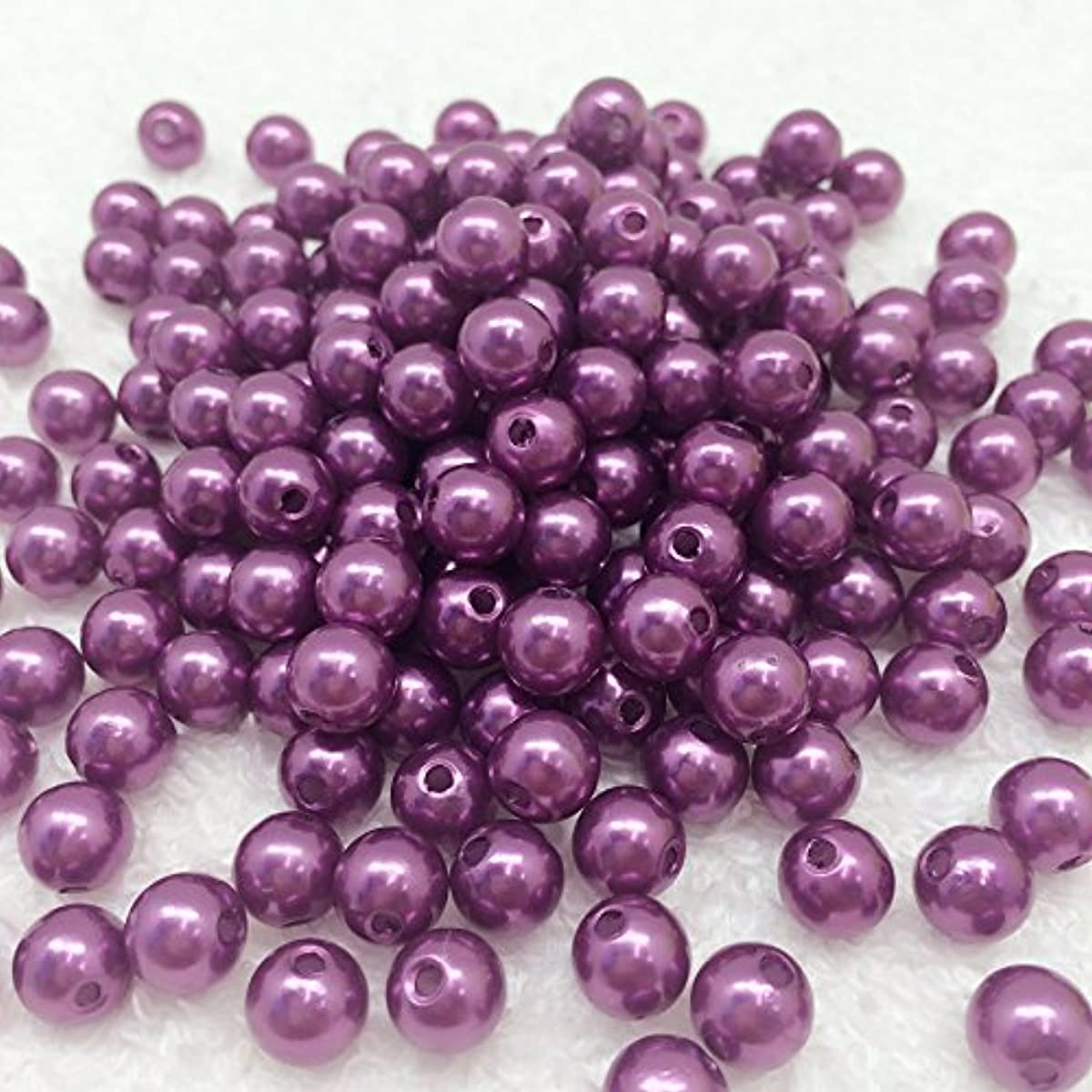 PEPPERLONELY 50 Grams (Apprx 190 PC) Acrylic Faux Pearl Beads 8mm(5/16 Inch), Purple
