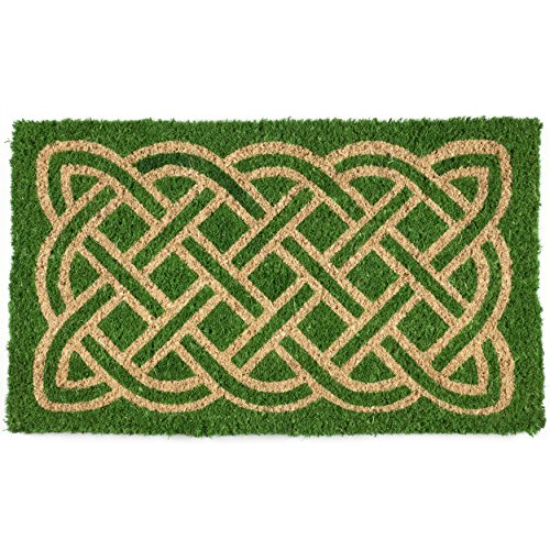 Entryways Celtic Handmade, Hand-Stenciled, All-Natural Coconut Fiber Coir Doormat 18' X 30' x .75'