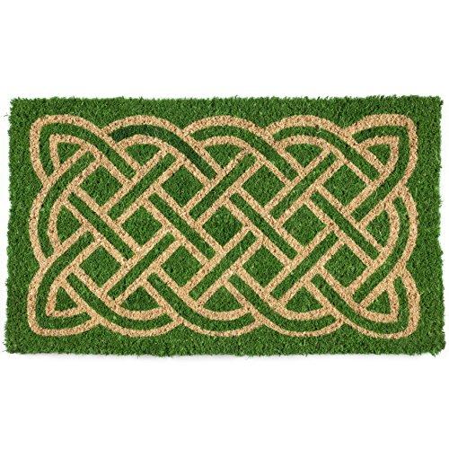 Entryways Celtic Handmade, Hand-Stenciled, All-Natural Coconut Fiber Coir Doormat 18' X 30' x .75'