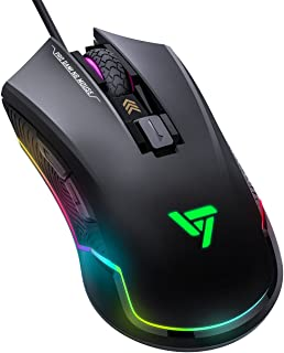 VicTsing Pro Gaming Mouse Wired, 16.8 Million Chroma RGB Backlit, 7250 DPI Optical Sensor, 6 Programmable Buttons Computer USB Gaming Mice with 6 Adiustable DPI Levels, Ergonomic Grips - Black