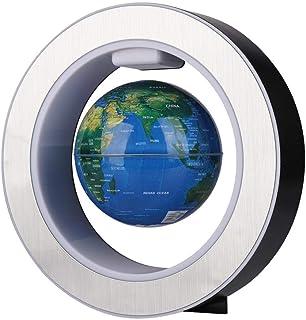 4in 100-240V O-form Magnetisk Levitation Flytande Globe Blå Roterande Magnetiska Glober Världskarta Flytande Globe med LE...