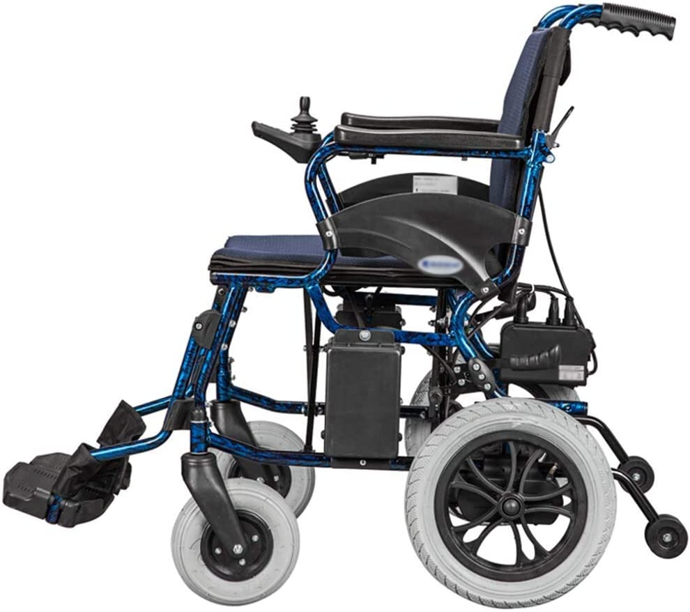 GAXQFEI Plegable doble función Silla de ruedas eléctrica, inteligente silla de ruedas eléctrica automática, Anchura del asiento 45 cm, Capacidad de carga 120 Kg,