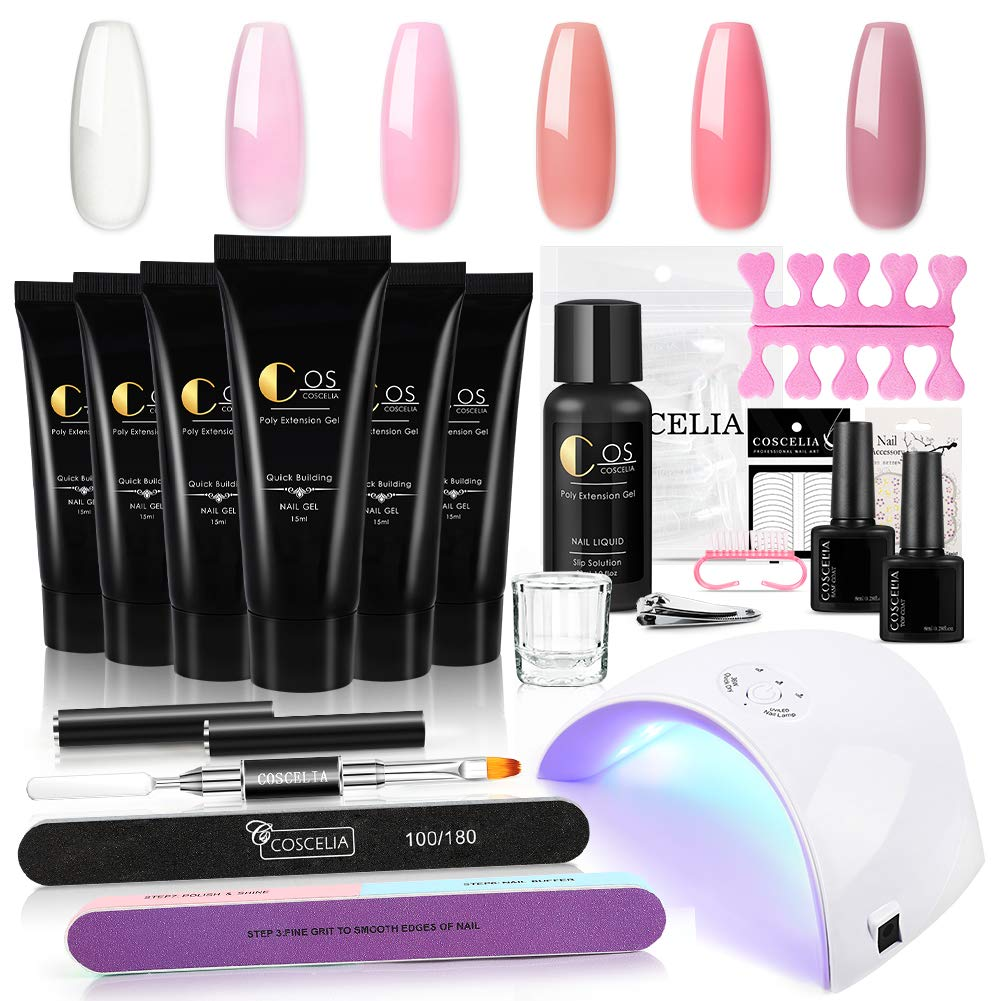 Poly Gel Nail Kit 2021 with LED Ext 36W Max 79% OFF 6 Light Colors Lamp