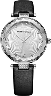 MINI FOCUS Women Business Watch, (Japanese Movement, Diamond Cut, Crystal) Black Analog Fashion Wristwatch for Girls Ladies Gift MF0038L.03