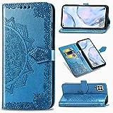Funda para Huawei P40 Lite, Carcasa Libro con Tapa Flip Case Antigolpes Golpes Cartera PU Cuero Suave Soporte con Correa de Mano Cordel - Mandala Azul