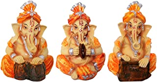 ART N HUB 3 Piece Combo Earthenware Musical God Shri Ganesh Statue Handicraft Decorative Spiritual Puja Vastu Showpiece Fi...