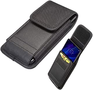 DFV mobile - Belt Case Cover with Card Holder Design in Leather and Nylon Vertical for Samsung Galaxy C7 Pro (2017) - Black