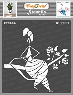 Craftreat Tribal Art Stencils for Craft - Sitting on a Branch - 12X12 Inches - Reusable DIY Stencils for Painting - Home D...