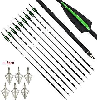 MILAEM 30 Pulgadas Flechas de Carbono Spine 500 Flechas de Caza Flecha de orientación con Punta reemplazable para Arco recurvo Arco Compuesto Caza al Aire Libre