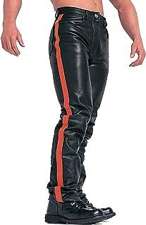 بناطيل Dengyujiaapk جلدية للفواصل، سراويل رجالية كبيرة الحجم جلدية أزياء سوداء خياطة سميكة الصوف سراويل رجالية طويلة كاملة...