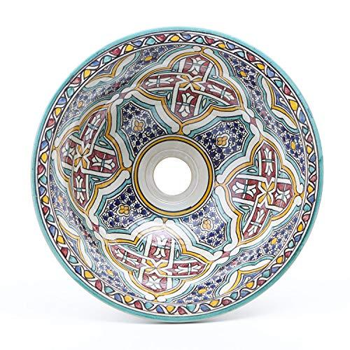 Orientalische Keramik-Waschbecken Fes73 bunt Ø 35 cm rund | Marokkanische Aufsatzwaschbecken handbemalt Handwaschbecken für Küche Gäste-Bad Badezimmer | Kunsthandwerk aus Marokko