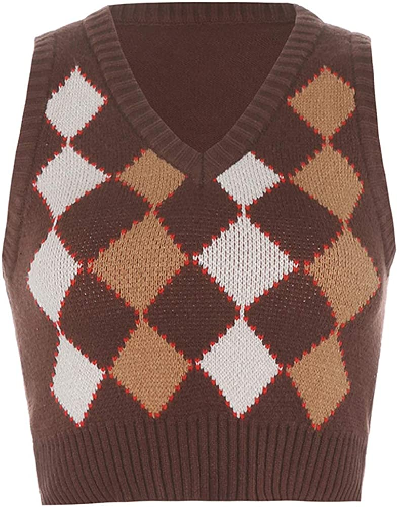 Hotmiss Women's Slim V Neck Sweater Vest Uniform Knit Sleeveless Sweater Ribbed Tank Crop Winter Kitwear