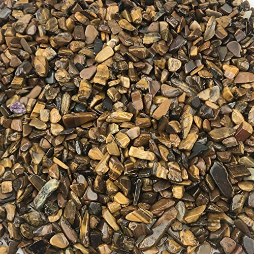 SNAKTOPIA Tiger's Eye Tumbled Chips Stone Crushed Crystal Quartz Pieces Irregular Shaped Stones Jewelry Making (3-Yellow Tiger's Eye)