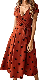 Exlura Summer Vintage Polka Dot Wrap V Neck Short Sleeve Midi Dress with Belt