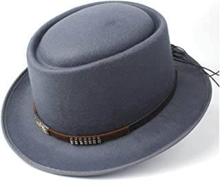 Pork Pie Hat Fedora Trilby Fashion Pork Pie Hat with Belt Tea Party Hat for Men Women Lady Fedora Hat for Gentleman Size 58CM (Color : Gray, Size : 58)