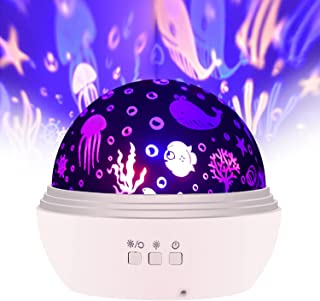 SlowTon Starry Night Light Projector, LED Lamp Star Moon Projector Rotating Night Light Sleep Soother for Baby Kids Bedroo...