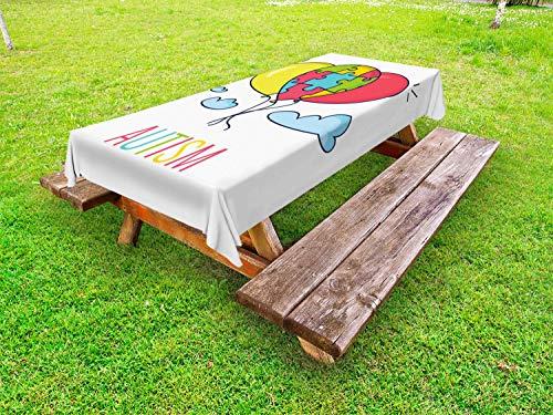 ABAKUHAUS autisme Tafelkleed voor Buitengebruik, De kleurrijke Ballon van de cartoon Sky, Decoratief Wasbaar Tafelkleed voor Picknicktafel, 58 x 84 cm, Veelkleurig