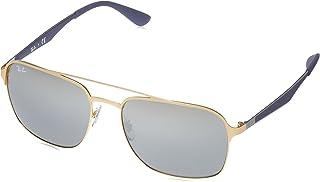 نظارة شمسية مربعة بعدسات غير مستقطبة من الايريديوم معدنية وملائمة لكلا الجنسين من راي بان، لون ذهبي، 58 ملم