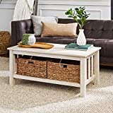 Walker Edison Alayna Mission Style Two Tier Coffee Table with Rattan Storage Baskets, 40 Inch, White