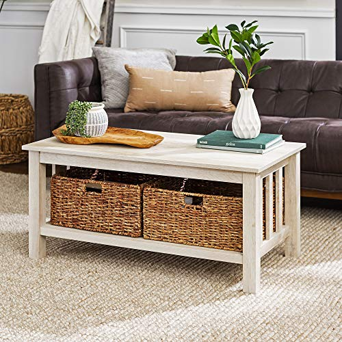 WE Furniture Rustic Wood Rectangle Coffee Accent Table Storage Baskets Living Room, 40 Inch, White Oak