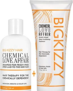 Big Kizzy Damage Repair Shampoo and Conditioner Set - Ideal for Bleached, Highlighted & Colored Hair. Keratin & Rice Protein Treat Prevent & Soothe Dry Fragile Hair. Extensions, Color & Keratin Safe.