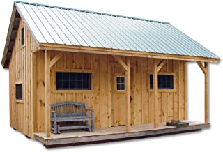 16x20 Timber Frame Post and Beam Vermont Cottage (A) with Loft Pre-Cut Kit with Step-by-Step DIY Plans