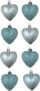 8 x 5cm Glitter + Matt Heart Shaped Christmas Tree Baubles - Assorted Colours (ICE BLUE)