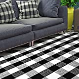 MELAJIA Buffalo Plaid Rug Black and White Checkered Rug Area Rugs 5'x7' Farmhouse Hand-Woven Runner Rugs for Bedroom Living Room