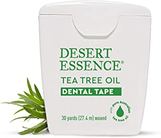 Desert Essence Tea Tree Oil Dental Tape - 30 Yards - Pack of 3 - Naturally Waxed w/Beeswax - Thick Flossing...