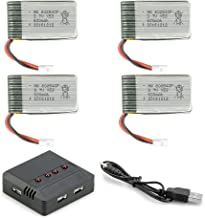 3,7V 600mAh Lipo Akku Batterie 25C (4St) für SYMA X5 X5C X5SC X5SW UDI U45 U45W RC Quadcopter Drohne + 4 in 1 Batterien Ladegeräte