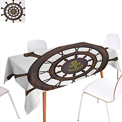 Warm Family Ships Wheel Rectangular Tablecloth Wooden Steering Wheel of The Ship with Anchor Pattern History
