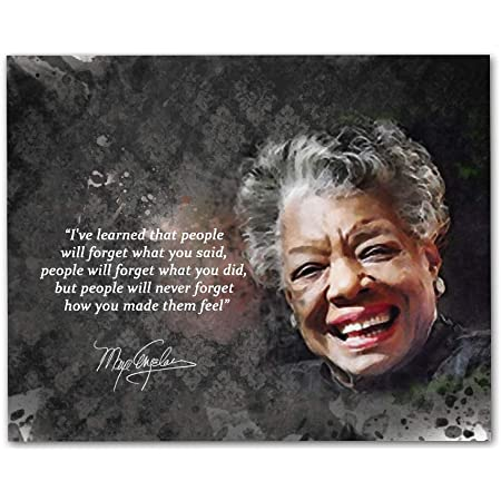 """Maya Angelou Quotes Wall Art, 8""""x10"""" Unframed Art Print - Iconic Black Women History Inspirational Wall Art Décor. Great African American Classroom Art for Teachers, Librarians and Historians"""