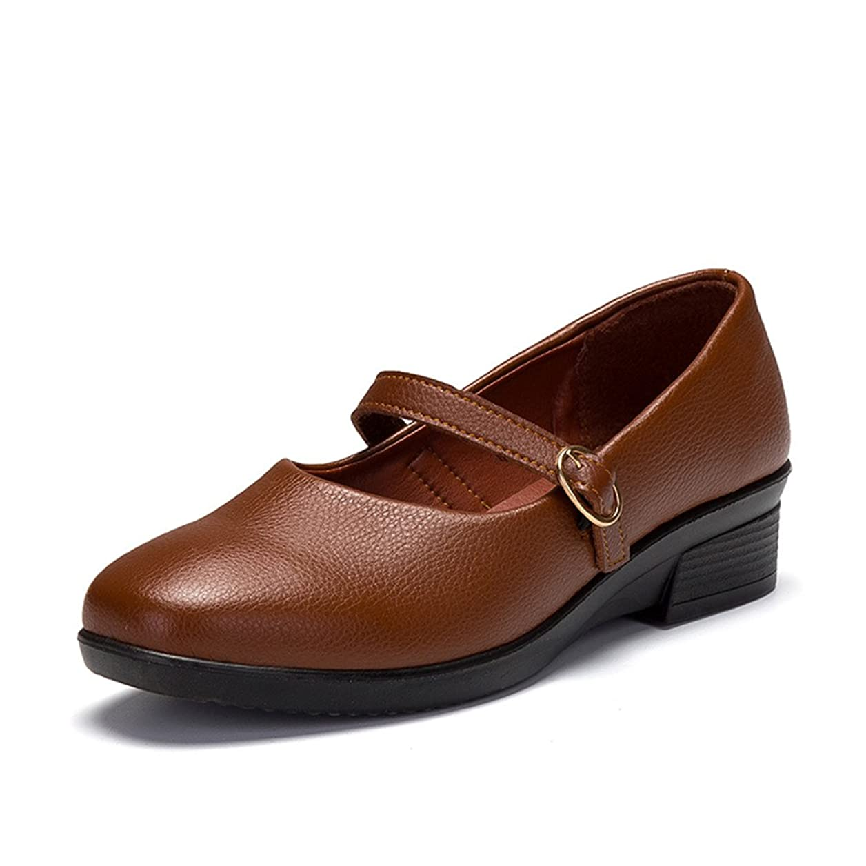 安らぎ美人憧れ[shoesway] パンプス ストラップ ラウンドトゥ バレエシューズ ぺたんこ レディース カジュアル 軽量 通勤 女性 靴 レザー ヒール 歩きやすい やわらかい