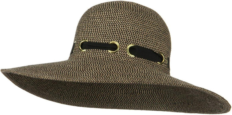 Jeanne Simmons UPF 50+ Wide Flat Brim Black Trim Hat  Black Tweed