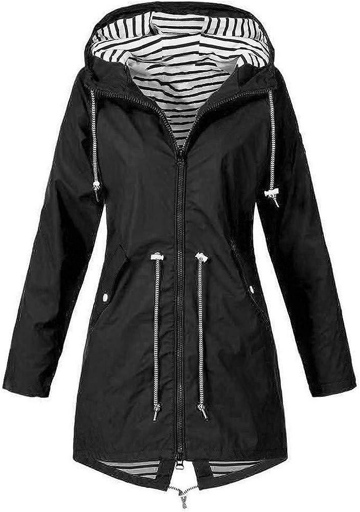NHGJ Womens Waterproof Raincoat Outdoor Active Lightweight Hooded Rain Jacket Windbreaker Multicolored Trench Coat Plus Size