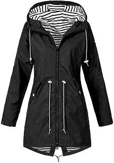 KYLEON Women's Coat Raincoat Waterproof Long Hooded Trench Coats Lined Windbreaker Travel Jacket Lightweight Pea Coat Parka