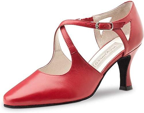 Werner Kern Femmes Chaussures de Danse Ines - Cuir Rouge Rouge - 6,5 cm  de gros