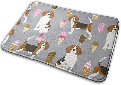 """Beagle Ice Cream Dog Breed Summer Dessert Food Grey_29699 Doormat Entrance Mat Floor Mat Rug Indoor/Outdoor/Front Door/Bathroom Mats Rubber Non Slip 23.6"""" X 15.8"""""""