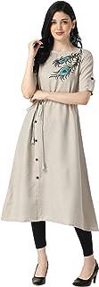 OM SAI LATEST CREATION Designer Slub Rayon Fully Stitched Anarkali Kurti for Women & Girls on Jeans Palazzo or Skirt (Plus...