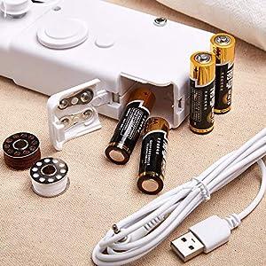 happylife Nähmaschine Mini Handnähmaschine Schnellstichwerkzeug fur Stoff Kleidung, Kindertuch, Vorhang, Schal, AA Battery Operated or USB-Adapter (35 Stück Super Value Pack)