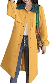 Macondoo Women's Elegant Single Breasted Outwear Windbreaker Trenchcoats