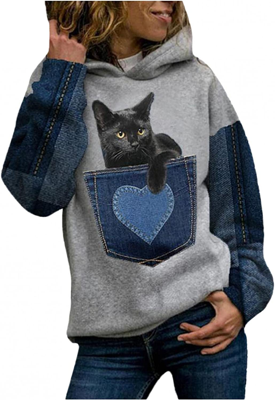 Toeava Womens Hoodies Sweatshirts Plus Size Long Sleeve Cat Heart Graphic Sweatshirt Fashion Pullover Tops Tunic Shirts