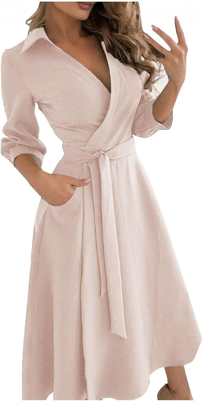 Sayhi Womens Evening Dresses Pure Color V-Neck Lacing Slim Body Wrap Hips Long Dress Cocktail Dresses