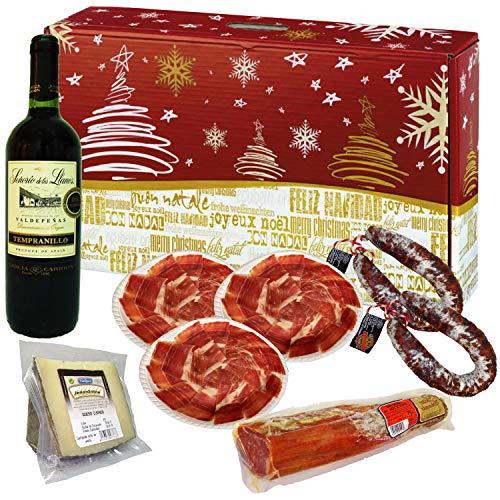 Cesta de Navidad Productos Ibéricos. Jamón Ibérico, Queso Oveja, Lomo Ibérico, Chorizo y Vino. Lote Productos...