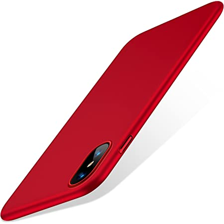 TORRAS iPhone Xs用 ケース/iPhone X用 ケース 5.8インチ 薄型 PC 指紋防止 黄ばみなし 擦り傷防止 ガラスフィルム付属 全面保護 耐衝撃カバー(レッド)[ Wisdom Series]