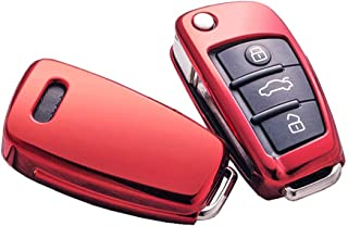 Heart Horse Fit to Audi Key Cover, Car Key Cover for Audi A1 A3 A4 A6 Q3 Q5 Q7 S3 R8 TT Remote Protector Cover TPU Silicone (Red)