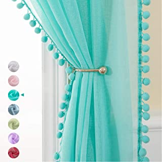 MIULEE 2 PCs Turquoise Sheer Curtain with Pom Pom 90 Inches Length,Linen Textured Rod Pocket Voile Semi-Sheer Drapes for L...