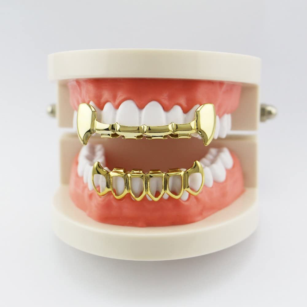 18K Gold Plated Vampire Four Open Face Gold Grillz Set